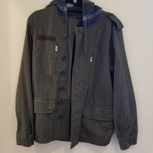 Topshop  Hooded Button Up Green Utility Jacket